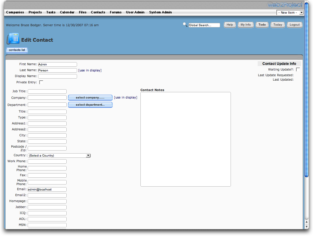 web2project Documentation -- Contacts Module